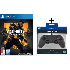 Call of Duty Black Ops 4 + Nacon vezetékes kontroller fekete színben (PS4)